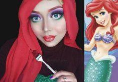زنی که با آرایش و حجاب شبیه شخصیتهای دیزنی شده است